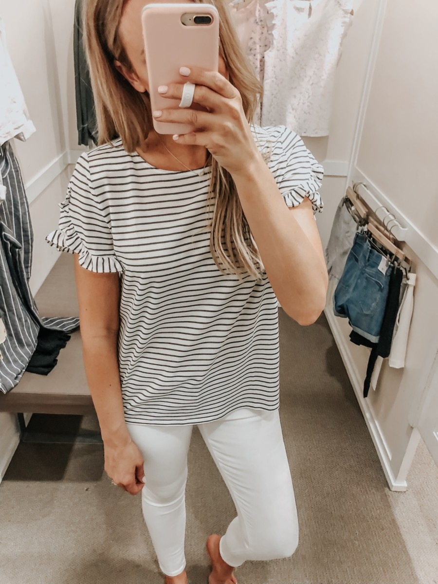 LOFT Spring Dressing Room | LOFT Favorites: Spring Dressing Room Try-On Session featured by top US fashion blog, Haute & Humid; image of woman wearing a LOFT striped ruffle sleeve tee