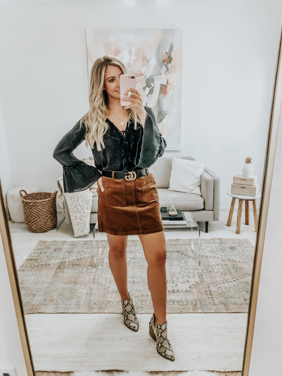 snake print boots | 6 Early Fall Outfits With Vici by popular Houston fashion blog, Haute and Humid: image of a woman wearing a Vici Sparrow Lace Up Ruffle Top, Nordstrom BP Corduroy Miniskirt, Nordstrom Vince Camuto Gigietta Bootie, and Gucci Leather belt with Double G buckle.