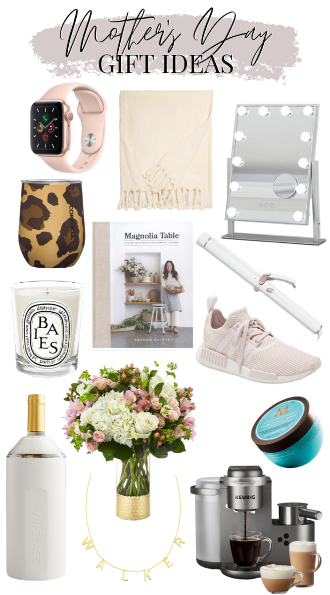 mother's day gift | Mother's Day Gift Ideas by popular Houston life and style blog, Haute and Humid: collage image of a Magnolia Table cookbook, T3 curling wand, Moroccan Oil hair mask, insulated leopard tumbler, Apple watch, makeup mirror, white and pink flower arrangement, Adidas sneakers, Keurig coffee maker, personalized necklace, Vinglace wine chiller, and tassel blanket.