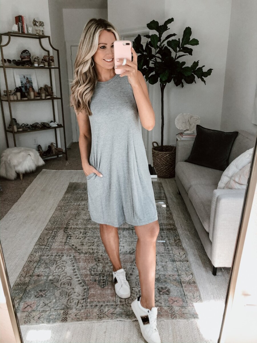 tank dress   Walmart Spring Fashion by popular Houston fashion blog, Haute and Humid: image of a woman wearing a Walmart Time and Tru Women's Sleeveless Knit Dress and Walmart Time and Tru Women's Time and Tru Fashion Sneaker.