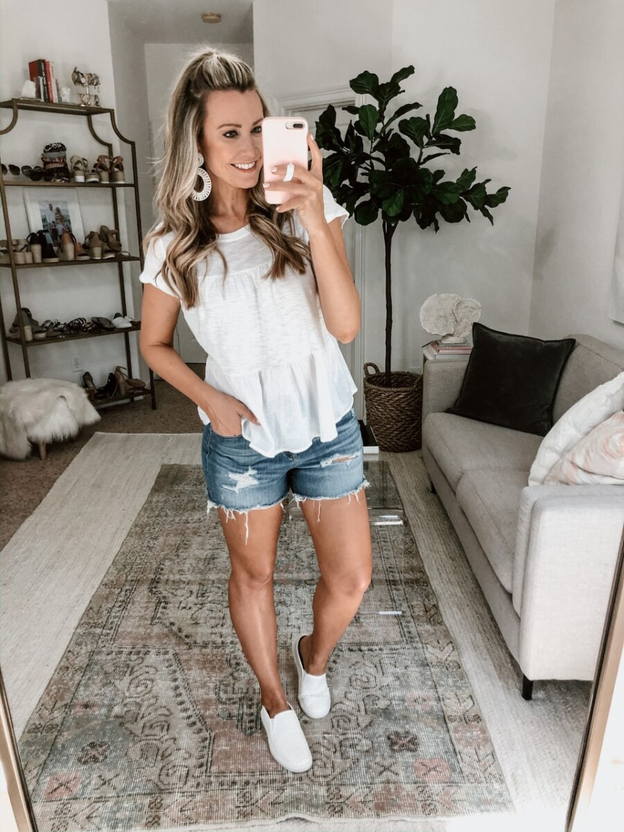 white tee   Walmart Spring Fashion by popular Houston fashion blog, Haute and Humid: image of a woman wearing a Walmart Time and Tru  Women's Short Sleeve Tiered T-Shirt and Walmart Time and Tru Women's Time and Tru Perforated Twin Gore Slip On.