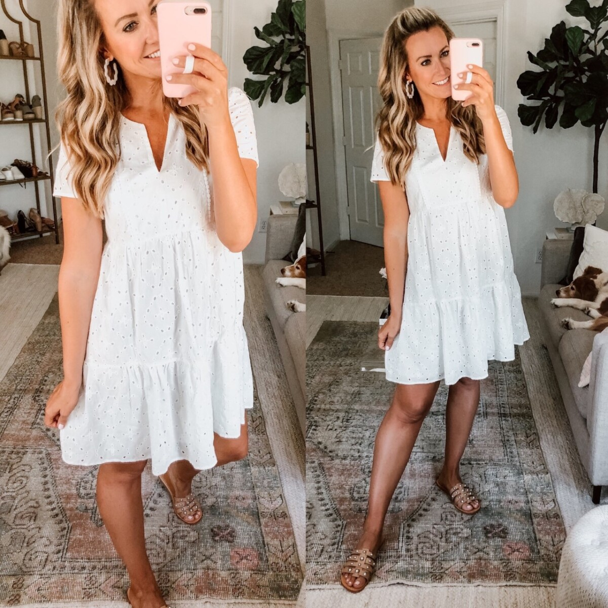 target dresses | White Summer Dresses by popular Houston fashion blog, Haute and Humid: image of a woman wearing a Target Knox Rose Women's Short Sleeve Dress, Nordstrom MARC FISHER LTD Pava Slide Sandal, and Amazon FIFATA statement earrings.