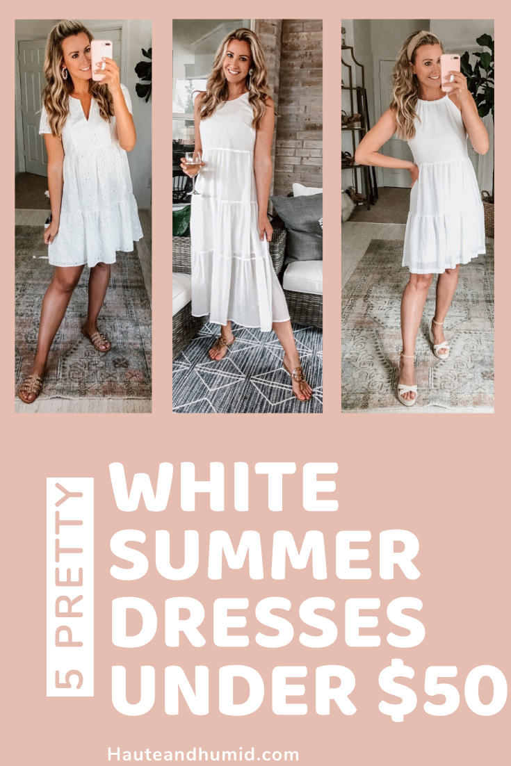 white summer dresses | White Summer Dresses by popular Houston fashion blog, Haute and Humid: Pinterest image of a woman wearing various white summer dresses.