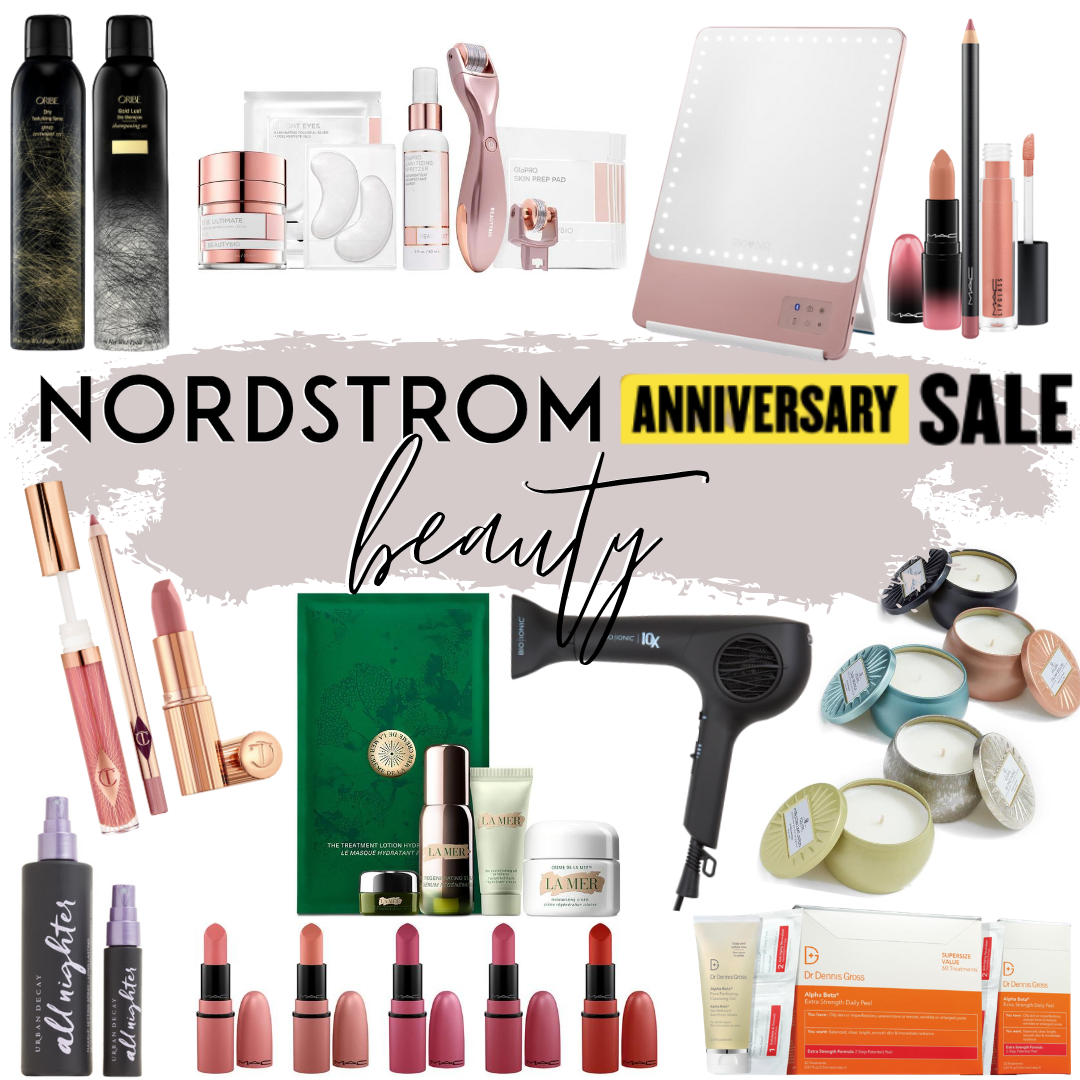 Nordstrom Anniversary Sale Beauty Buys | Nordstrom Anniversary Sale by popular Houston beauty blog, Haute and Humid: collage image of Nordstrom ORIBE Dry Shampoo & Texturizing Spray Duo, Nordstrom BeautyBio Microneedling Facial Set, Nordstrom Riki Loves Riki Lightup Makeup Mirror, Nordstrom MAC Lipstick Trio, Nordstrom Charlotte Tilbury Lipstick Trio, Nordstrom La Mer Facial Set, Nordstrom BioIonic Hair Dryer, Nordstrom Voluspa Mini Candle Set, Nordstrom Urban Decay All Nighter Setting Spray, Nordstrom MAC Lipstick 5 Set Pack, Nordstrom Dr. Dennis Gross Alpha Beta Peel Set.