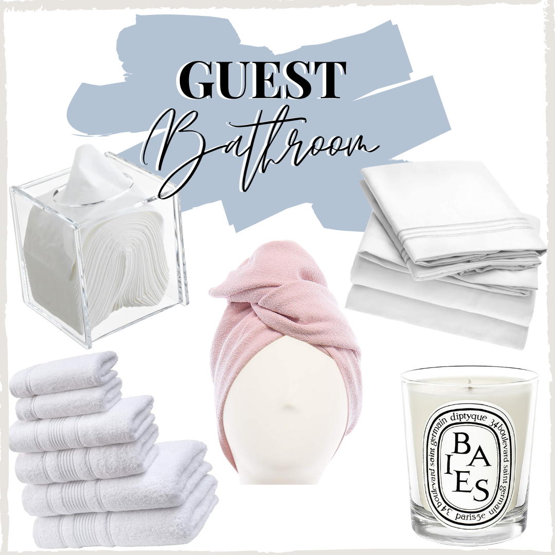 guest bathroom essentials | Christmas Prep by popular Houston lifestyle blog: image of white towels, pink head towel, acrylic tissue dispenser, and Baies candle.