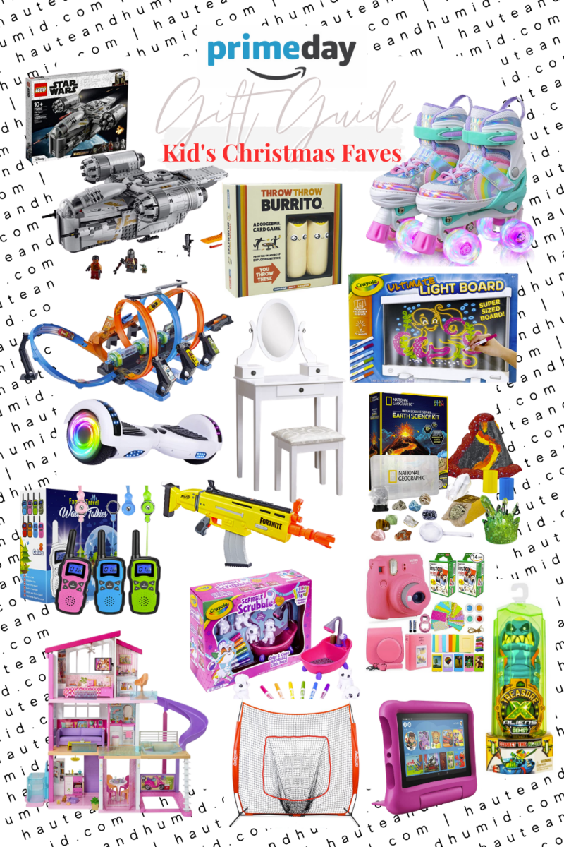 amazon kids gift guide | Best Amazon Prime by popular Houston life and style blog, Haute and Humid: collage image of Amazon Scribble Scrubbies, Walkie Talkies, Fire 7 Tablet With Case, Hover Board, Ultimate Light Board, Earth Science Kit, Star Wars Mandalorian Lego Set, Hot Wheels Crash Track, Treasure X Aliens Dissection Slime Kit, Instax Camera Kit, Vanity Set, Nerf Fortnite Gun, Throw The Burrito Game, Barbie Dream House, Roller Skates, and Sports Net.