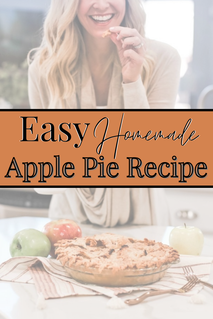 apple pie recipe |Mama Mary's Easy Apple Pie Recipe featured by top US lifestyle blog Haute & Humid | Easy Apple Pie Recipe by popular Houston lifestyle blog, Haute and Humid: Pinterest image of a apple pie resting on some striped dish towels.