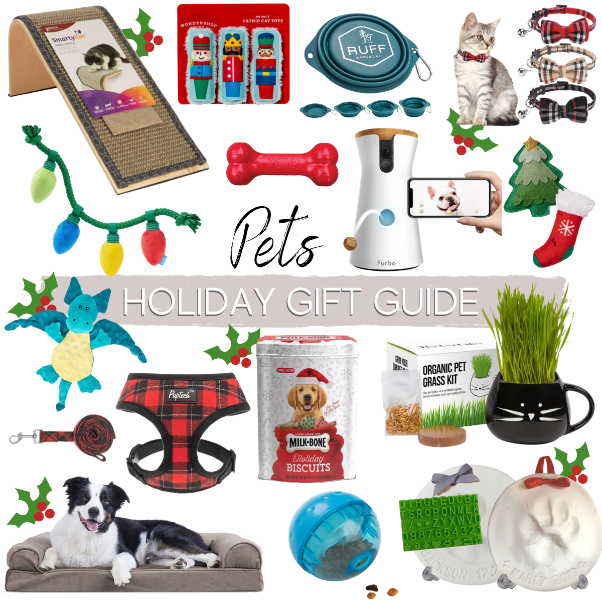 pet gift guide |Christmas Gift Ideas by popular Houston life and style blog, Haute and Humid: collage image of pet gift ideas.