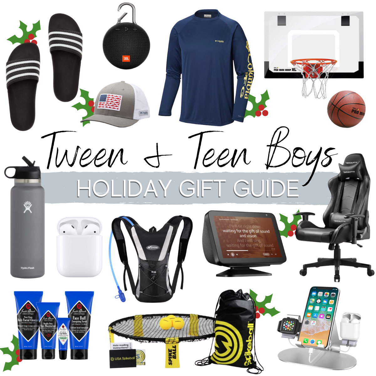 teen boys gift guide |Christmas Gift Ideas by popular Houston life and style blog, Haute and Humid: collage image of gift ideas for tween and teen boys.