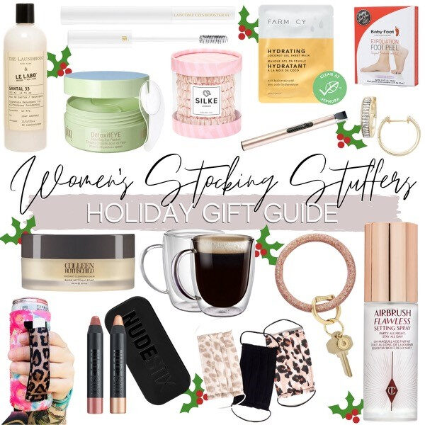 womens stoking stuffers |Christmas Gift Ideas by popular Houston life and style blog, Haute and Humid: collage image of women's stocking stuffer ideas.