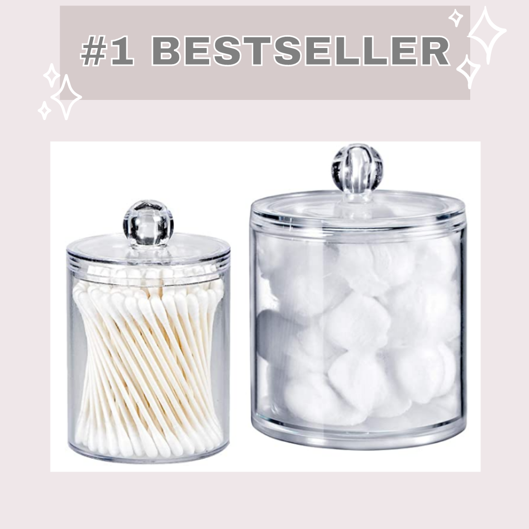 bathroom organization |Amazon Bestsellers by popular Houston life and style blog, Haute and Humid: image of a acrylic bathroom canisters.
