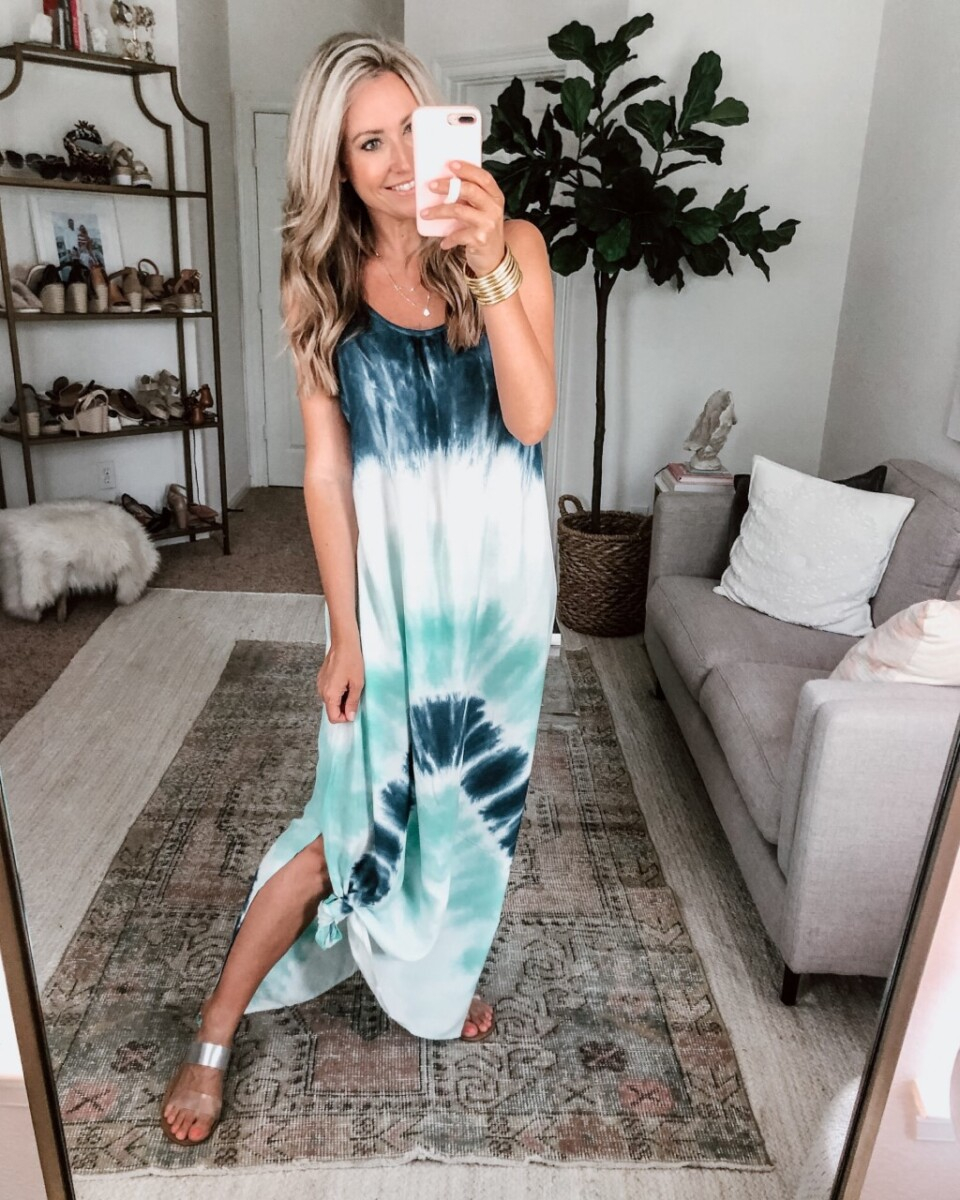 amazon swim coverup |Amazon Bestsellers by popular Houston life and style blog, Haute and Humid: image of a woman wearing a blue tie dye maxi dress.