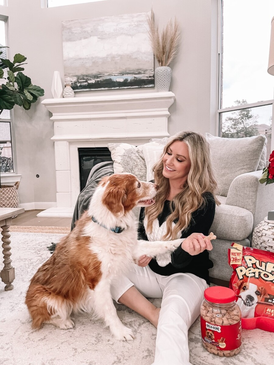milk bone dog treats |Milk Bone Dog Treats by popular Houston lifestyle blog, Haute and Humid: image of a woman and her dog sitting next to Milk Bone Pupperoni and other Milk Bone treats.