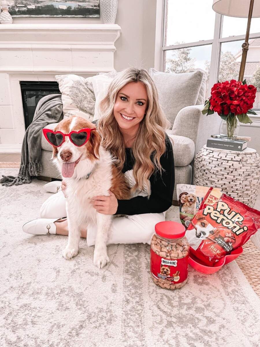 Valentine's Day Dog | Milk Bone Dog Treats by popular Houston lifestyle blog, Haute and Humid: image of a woman sitting on her floor with her dog who's wearing red heart frame sunglasses and sitting next to Milk Bone Pupperoni and other Milk Bone treats.