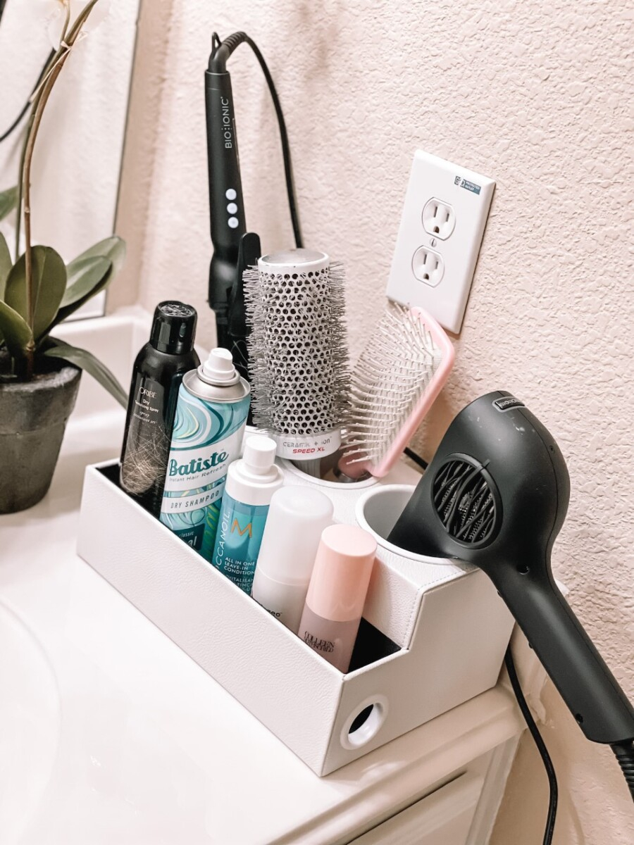 bathroom hair organizer   Amazon Favorites by Houston life and style blog, Haute and Humid: image of a Amazon hair organizer.