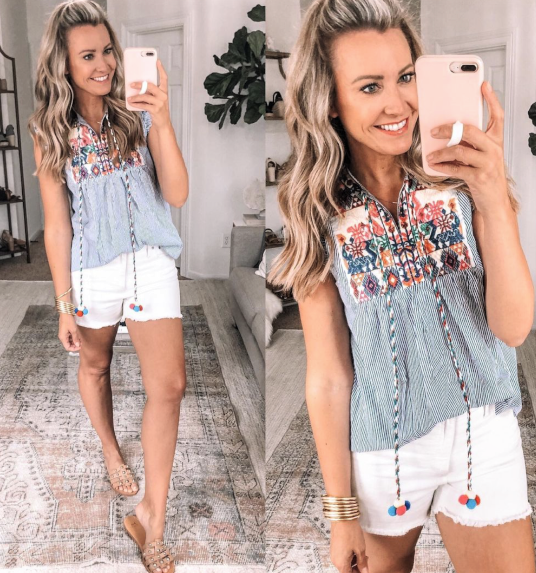 amazon top   Amazon Favorites by Houston life and style blog, Haute and Humid: image of a woman wearing an embroidered Amazon top and white cut off shorts.