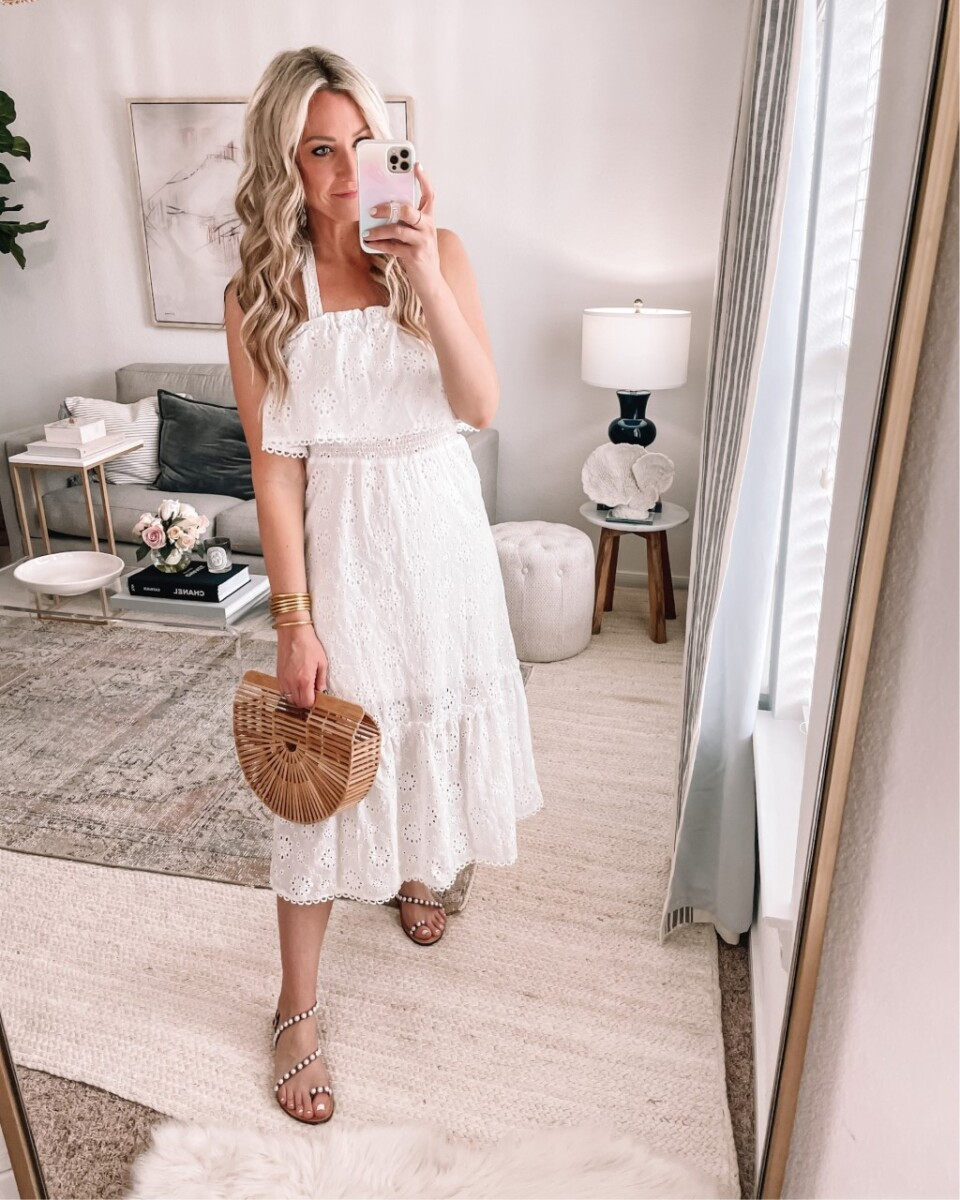 white dress  Amazon Favorites by Houston life and style blog, Haute and Humid: image of a woman wearing a Amazon white eyelet dress.