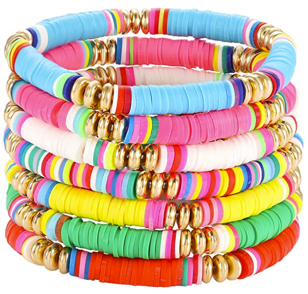 bracelet stack  Amazon Favorites by Houston life and style blog, Haute and Humid: image of a Amazon neon bracelet stack.