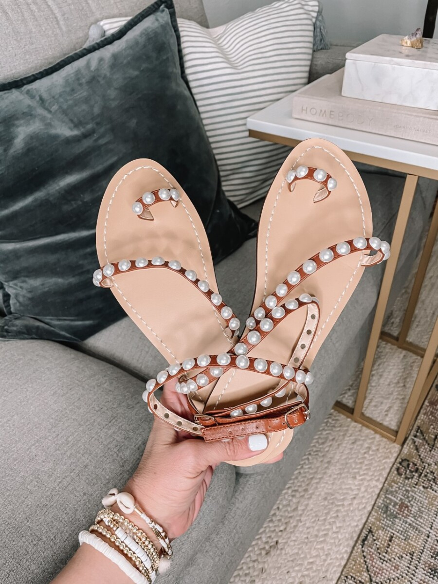 amazon sandals  Amazon Favorites by Houston life and style blog, Haute and Humid: image of a Amazon pearl sandals.