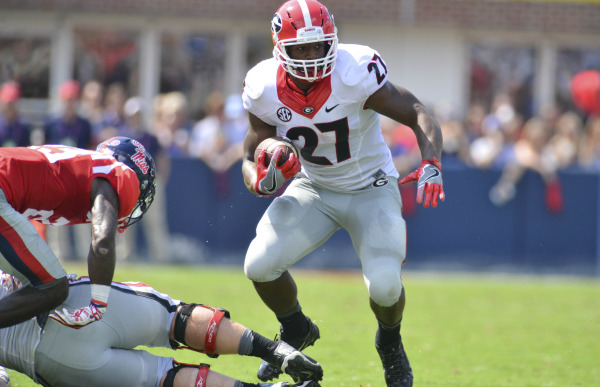 Nick Chubb running the ball against Ole Miss