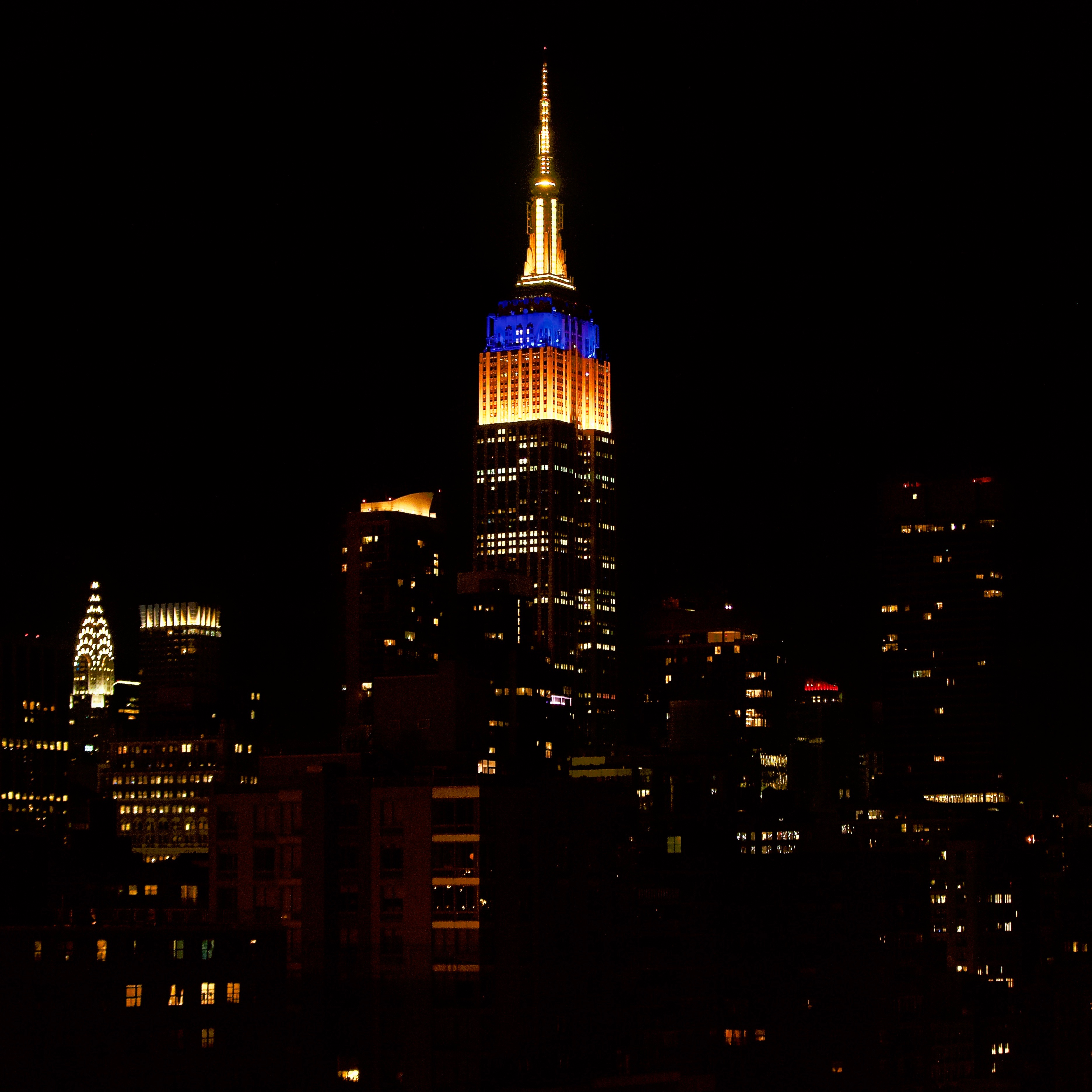 Empire State Building lit up in Michigan colors