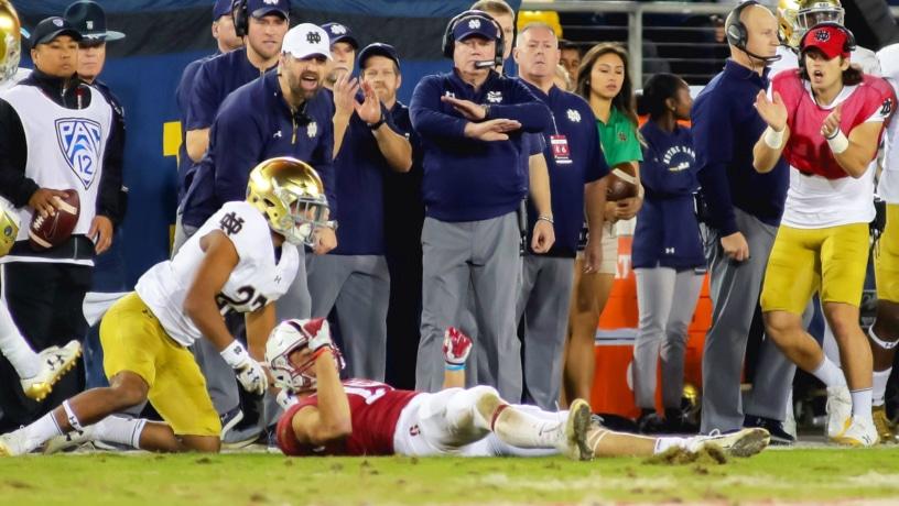 Notre Dame CB Julian Love vs. Stanford in 2017 (