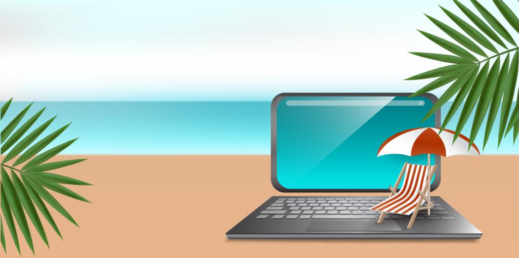 Summer beach with laptop
