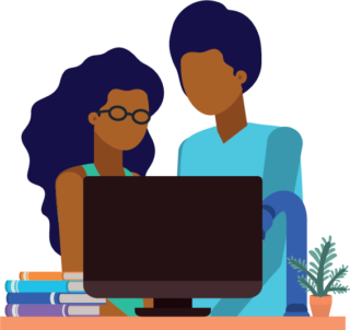 graphic of parent and child at computer