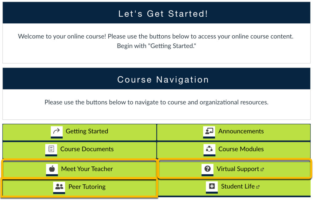Meet the Teacher, Virtual Support Center, and Peer Tutoring on the course homepage