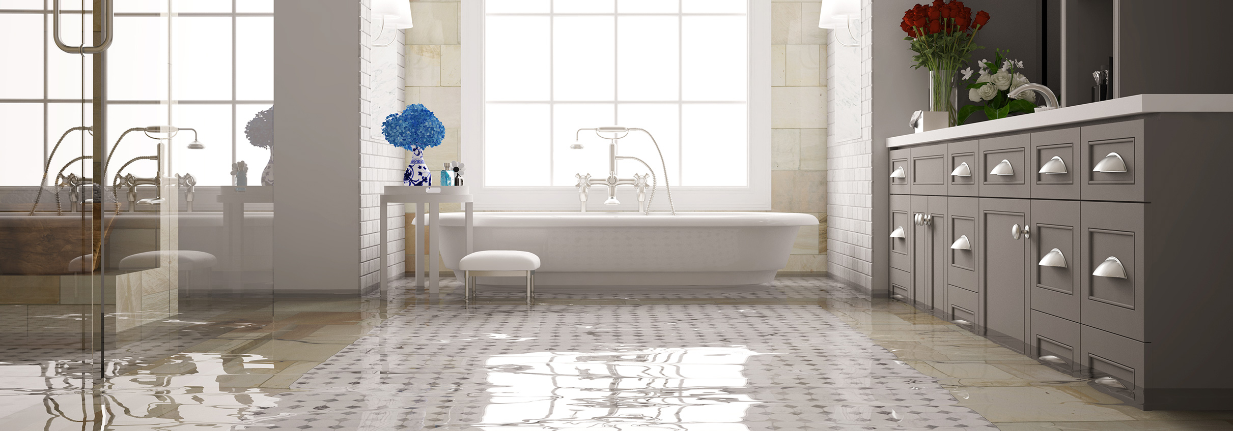 call us today 800-801-2211 over image of flooded bathroom