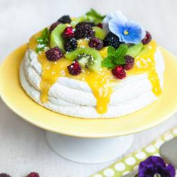 Mango, Kiwi and Whipped Coconut Cream Pavlova. Eggless (Vegan) Recipe.