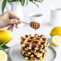 Light and Fluffy Lemon Ricotta Waffles with Poppy Seeds.