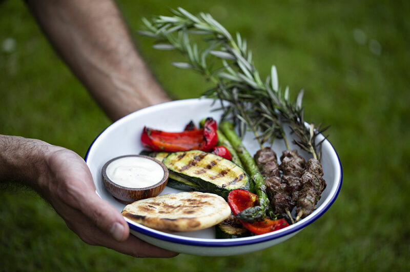 Lamb Kebabs on Rosemary Skewers. Quick and easy Barbecue dinner.