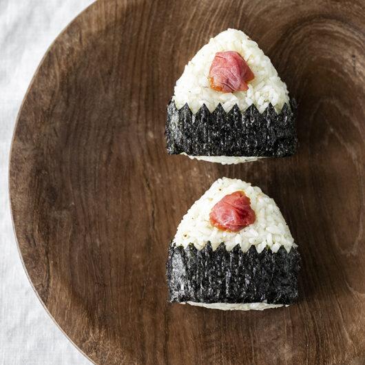 Homemade Umeboshi (Japanese pickled plum). Umeboshi Onigiri.
