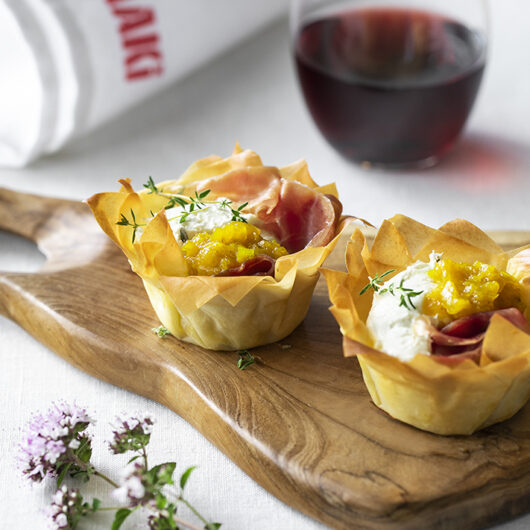 Filo Pastry Nests with Whipped Goat Cheese, Prosciutto and Kamo Kamo Pickle.