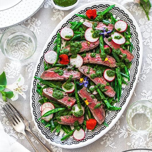 Next-level Skirt Steak with Salsa Verde and Vegetables