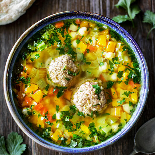 Soup of the day: Lamb meatball, butternut squash, bulgur and chickpea soup.
