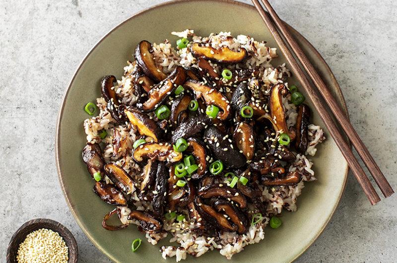 Caramelized Shiitake Mushrooms on Rice. Vegan Recipe.