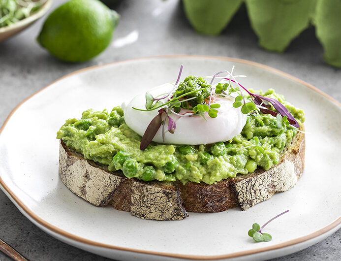 Super Green Avocado Toast  with Green Chilli, Lime and Poached Egg