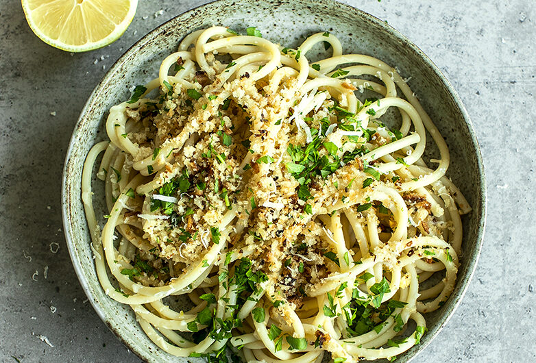 Bucatini with Anchovy, Parsley and Sourdough Bread Crispy Crumbs