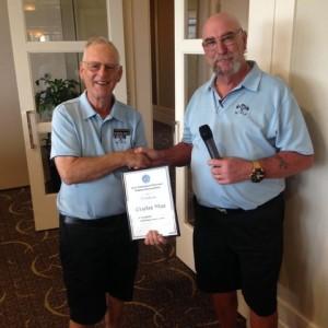 2015-12 Dave Cockroft is presenting Charles Watt his 25yr certificate