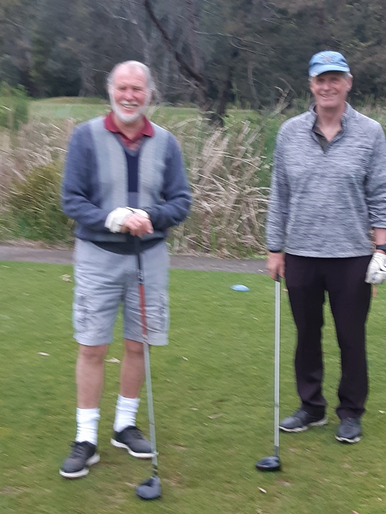 Barry McDiarmid and Gerard Fogarty seem very relaxed before teeing-off on the 6th tee