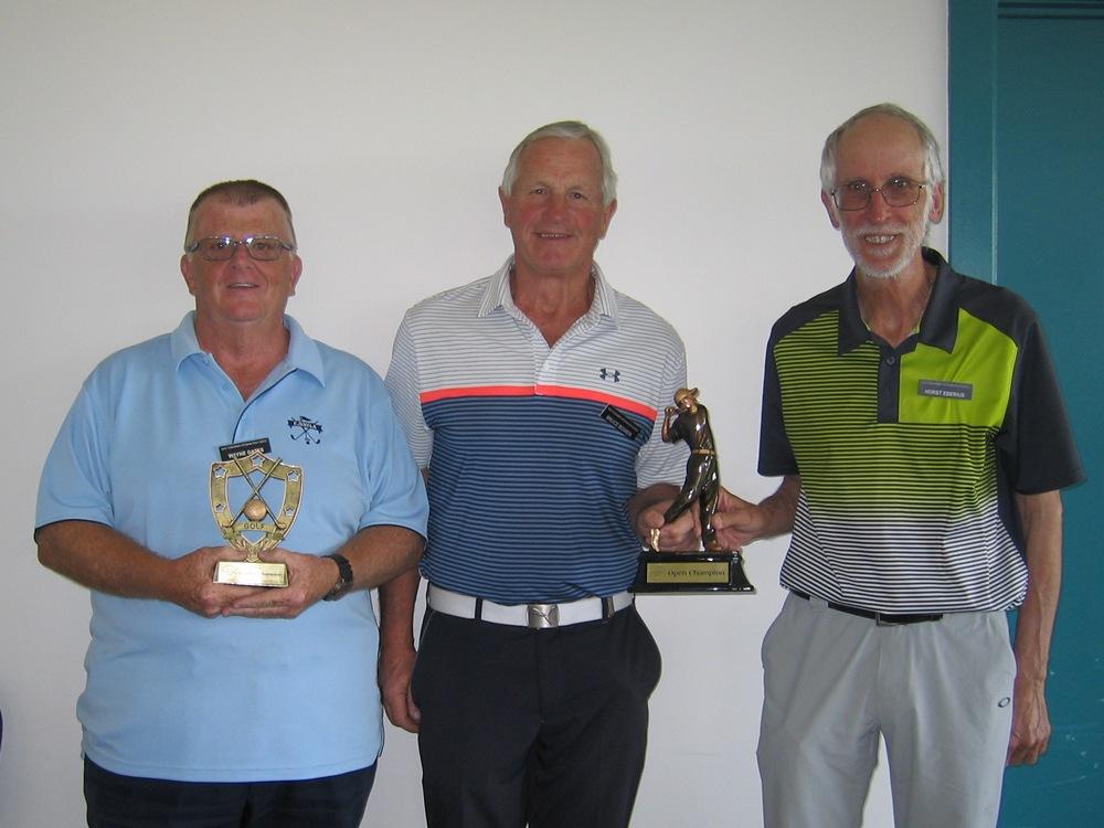 C Grade winner Wayne Gates with Champions Bruce Bower & Horst Eberius