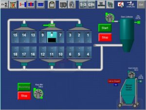 dust collection screen for ingredient batch system