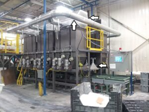 Dust Control using Dust Collection at Supply Bins and Batch Totes