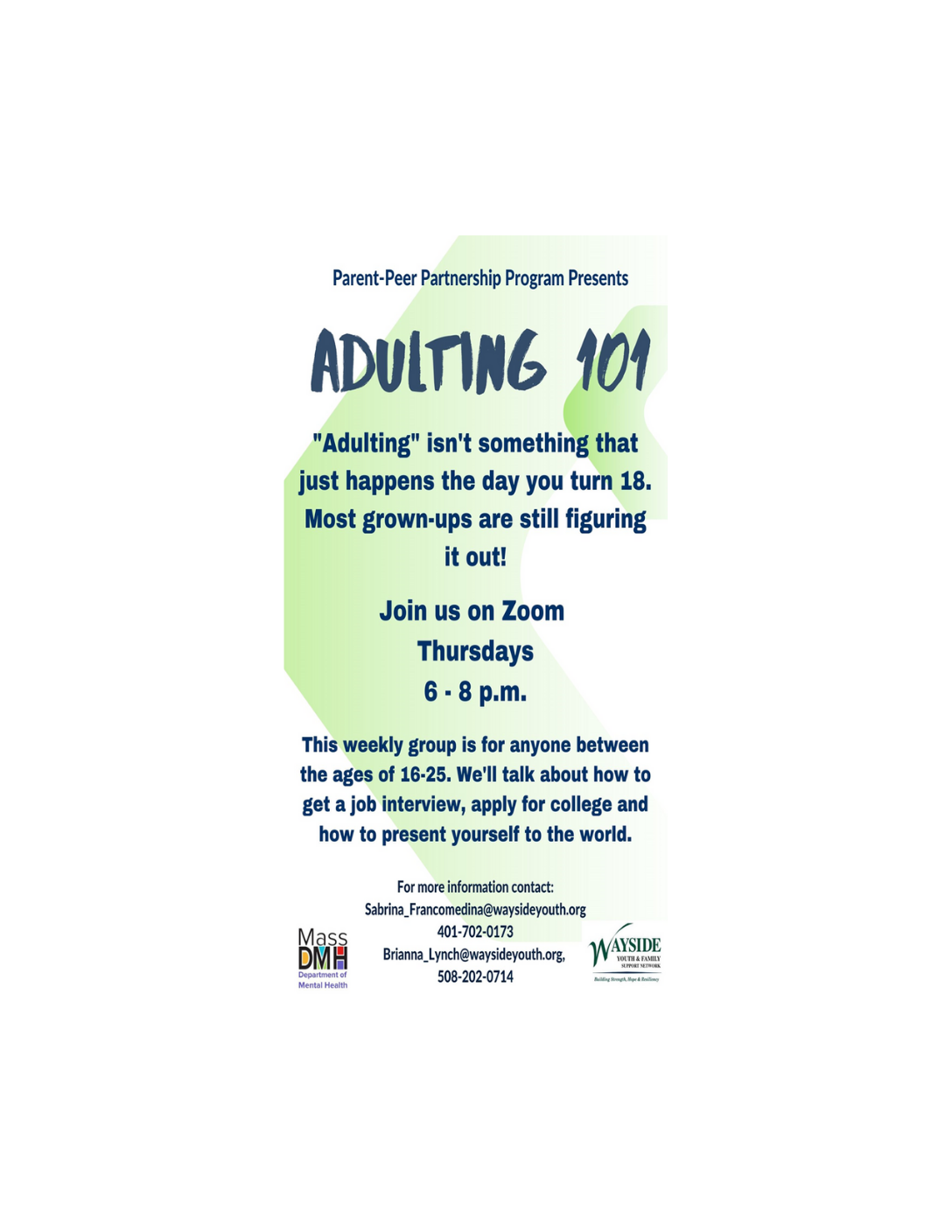 Adulting 101: Wayside Youth & Family Support Network (Virtual Young Adult Support Group, Ages 16-25)