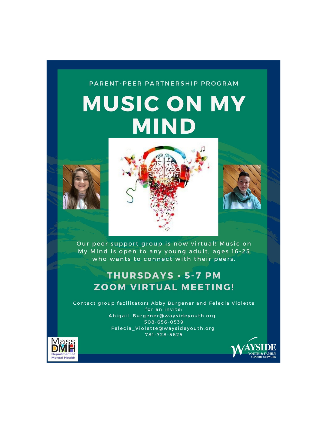 Music on My Mind: Wayside Youth & Family Support Network (Virtual Young Adult Support Group 16-25)