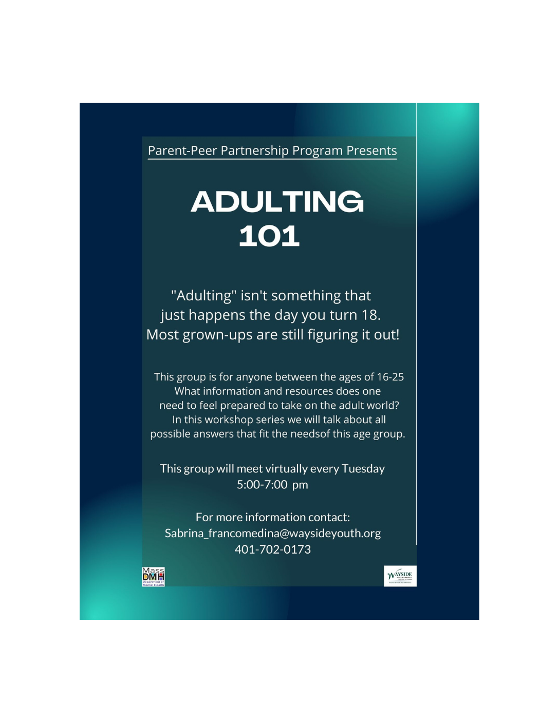 """Wayside Adulting 101 Group Flyer (Flyer reads: """"Adulting isn't something that just happens the day you turn 18. Most grown-ups are still figuring it out!"""" Meeting info written below.)"""