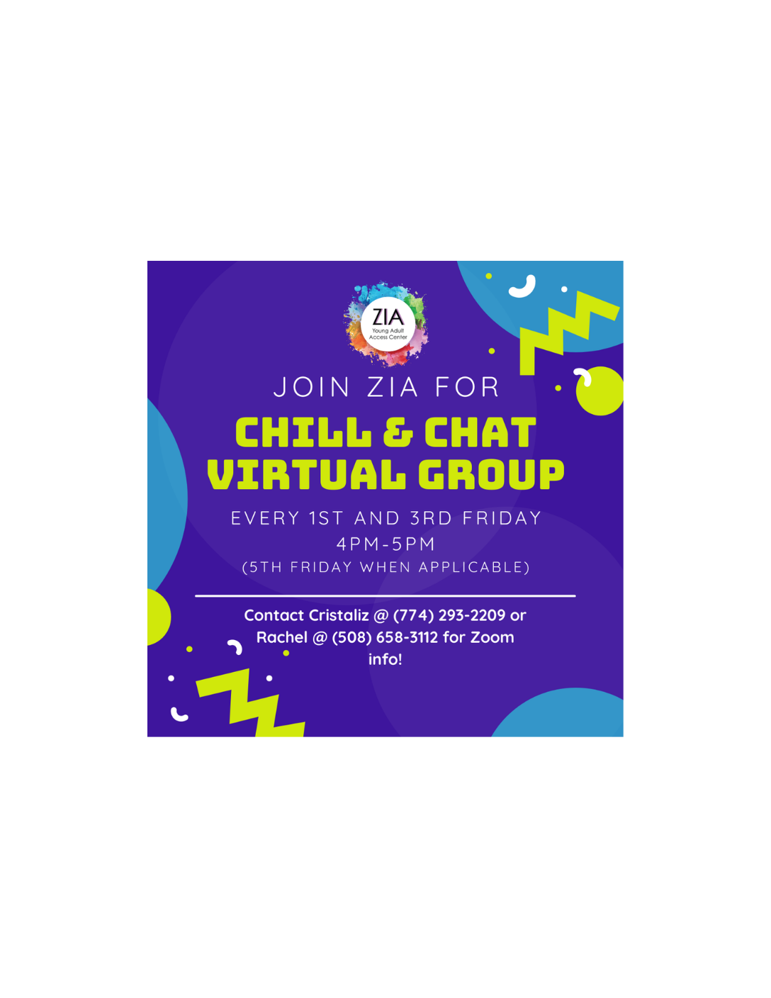 Chill & Chat - Virtual Group Hosted by Zia Young Adult Access Center