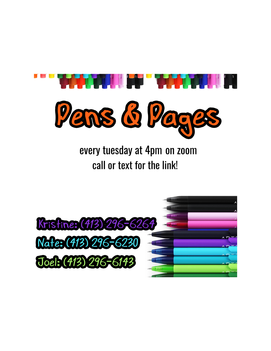 """""""Pens and Pages"""" Virtual Group for Young Adults (ages 16-22) - Hosted by the Impact Center"""
